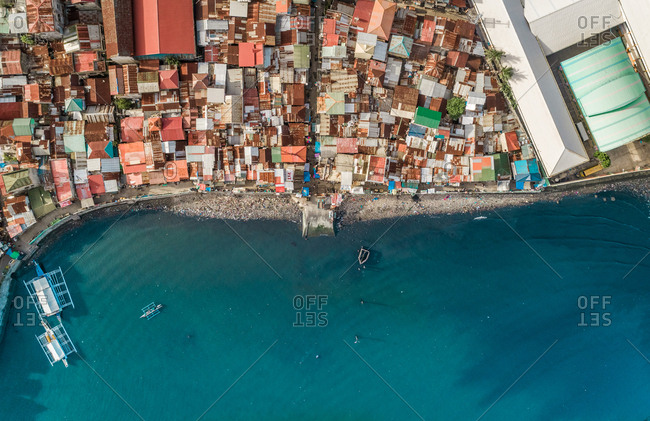Aerial view of Cebu city residential district and harbor, Philippines.