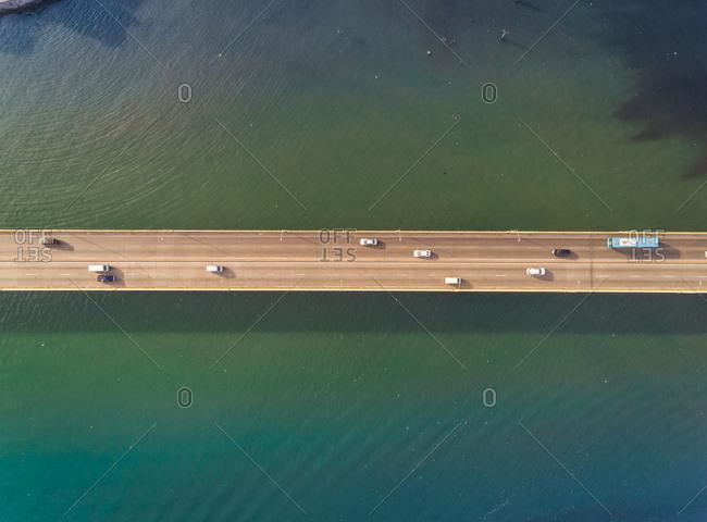 Aerial view of long Cebu South Coastal Road, Cebu, Philippines.