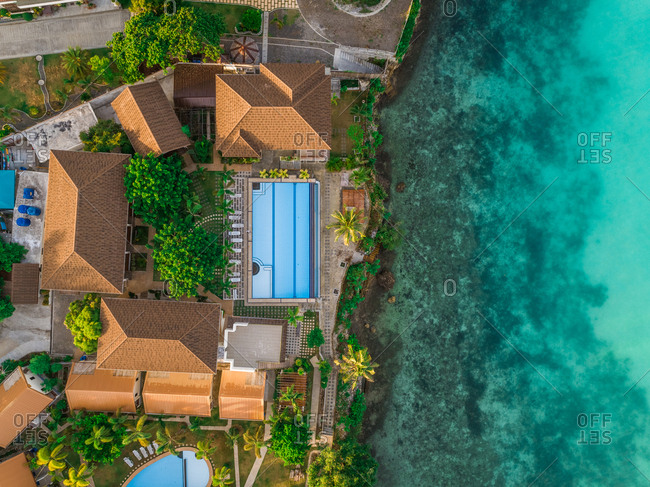 Aerial view of luxurious house with swimming pool, Tagbilaran, Philippines.