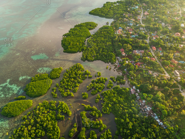 Aerial view of coastal town and mangroves in Taloto district, Philippines.