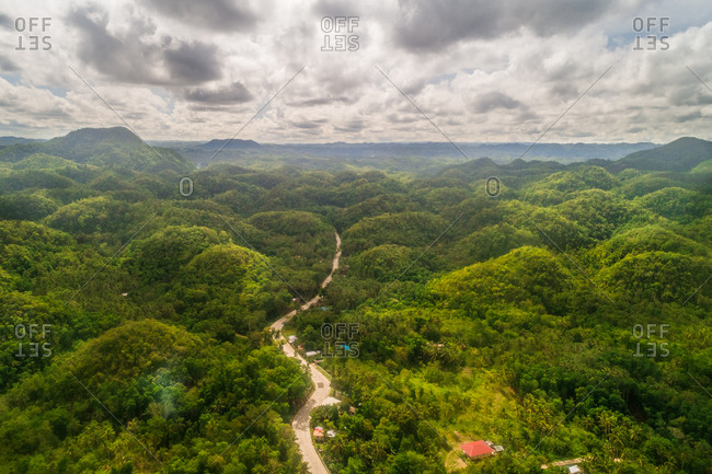 Aerial view of Chocolate hills and landscape, Philippines.