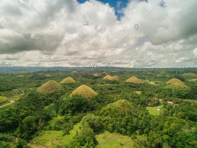 Aerial view of Chocolate Hills Complex, Batuan, Philippines.