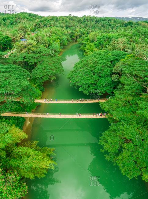 May 28, 2018: Aerial view of Sipatan Twin Hanging Bridge, Loboc, Philippines.