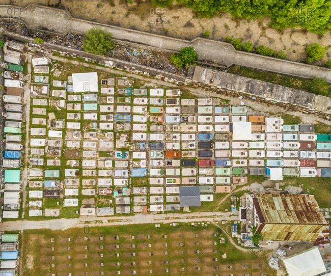 Aerial view of cemetery in Dauis, Philippines.