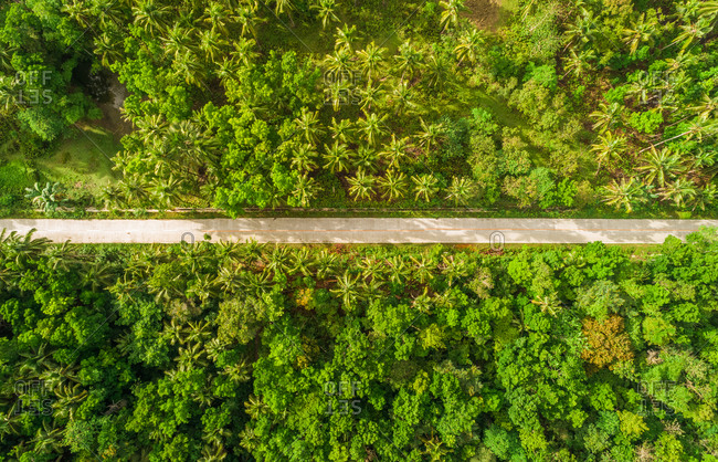 Aerial view of long straight road in Sagbayan, Philippines.