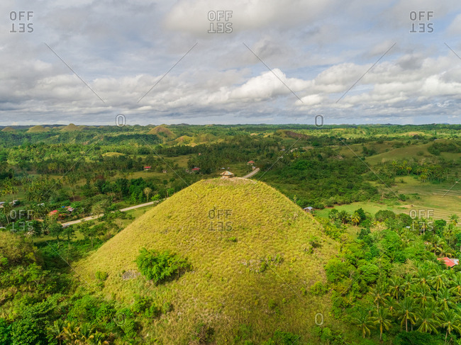 Aerial view of Chocolate hill in Sagbayan area, Philippines.