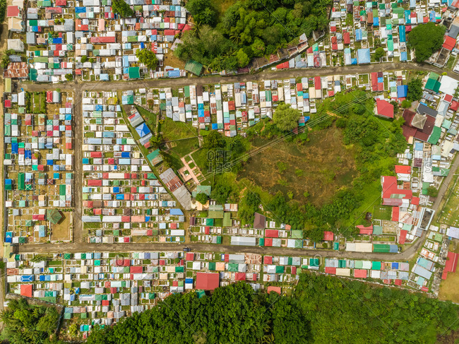 Aerial abstract view of residential district of Cebu city, Philippines.