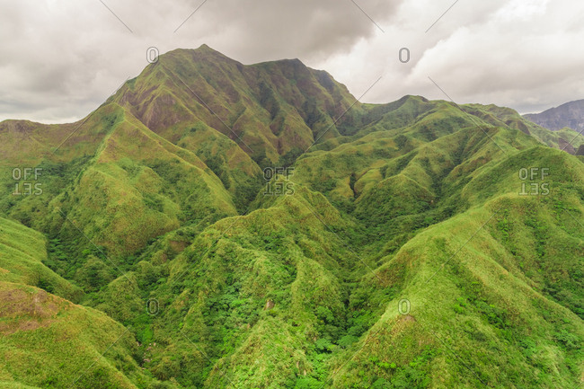 Aerial view of mountains surrounding Lake Pinatubo, Porac, Philippines.