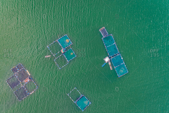 Aerial view of fish farm pools in Talisay, Philippines.