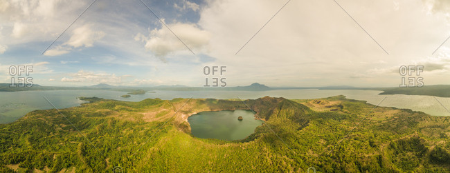 Aerial panoramic view of Taal volcano in Volcano Island, Talisay, Philippines.