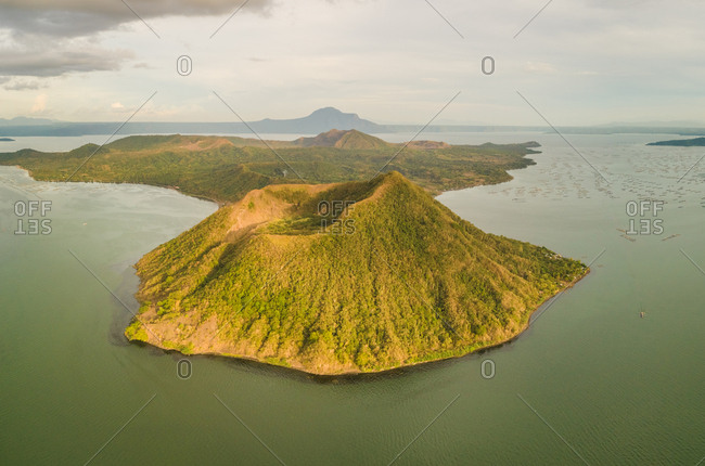 Aerial view of Taal volcano in Volcano Island, Talisay, Philippines.