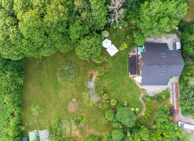 Aerial view of private residential home and garden in Correze, France.
