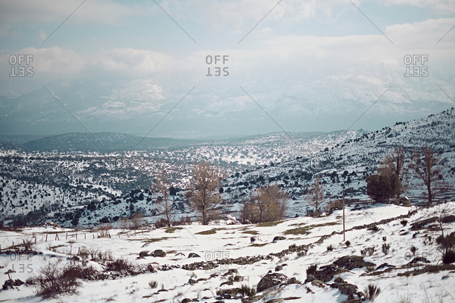 Landscape of beautiful endless hills covered with white snow and leafless trees on background of cloudy sky