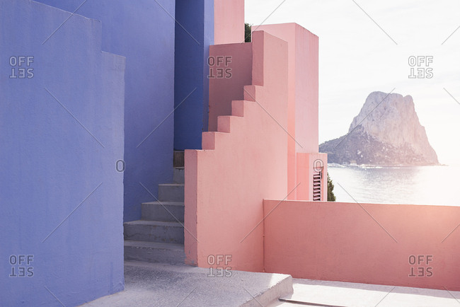 Stairs in a colorful building background