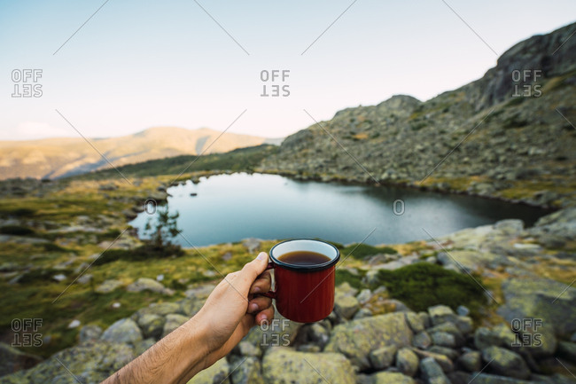 Crop man with mug on shore of lake