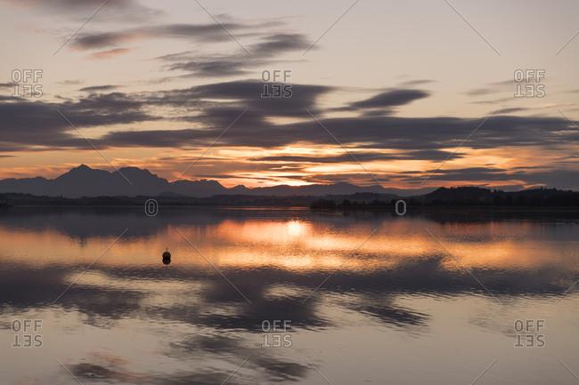 Beautiful view at lake Wallersee in austria at sunset