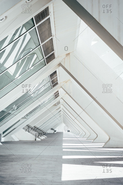 Amazing view of unusual empty archway of triangle shape in modern building