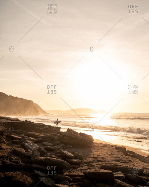 Anonymous person with surfboard on shore