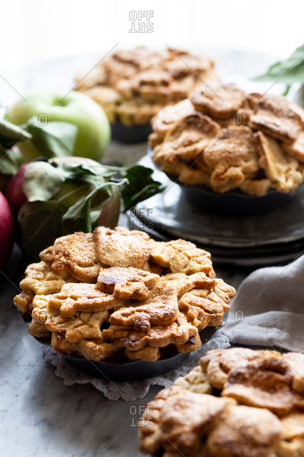 Overhead view of homemade Gluten-free mini apple pies
