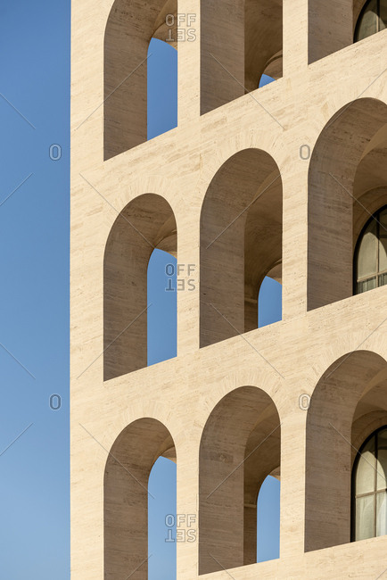 Rome, Italy - November 21, 2016: Arched openings on exterior of the Palazzo della Civilta Italiana