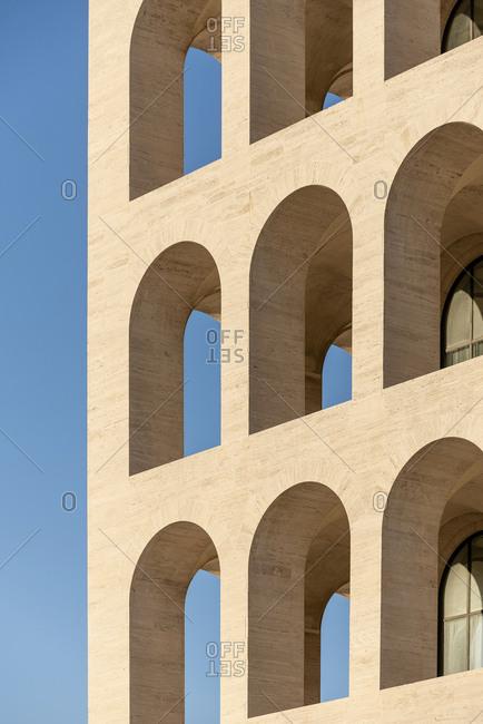 Rome, Italy - November 21, 2016: Arched openings on exterior of the Palazzo della Civilta Italiana