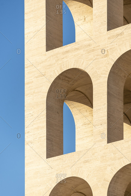 Rome, Italy - November 21, 2016: Detail of arched openings on exterior of the Palazzo della Civilta Italiana