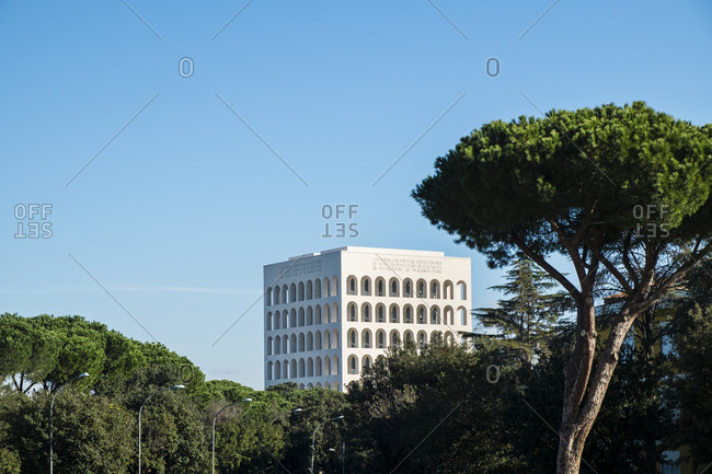 Rome, Italy - February 17, 2012: Arche detail of Palazzo della Civilta Italiana against blue sky