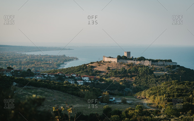 Wonderful panoramic view of a Platamon Castle in Pieria Greece