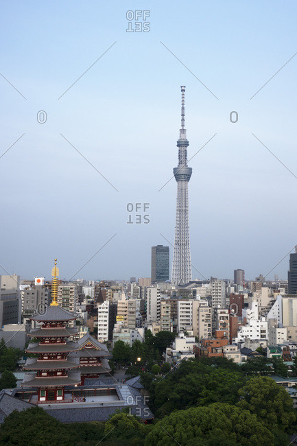 May 16, 2018: View over city with Tokyo Skytree and Five-Storied Pagoda, Tokyo, Japan, Asia