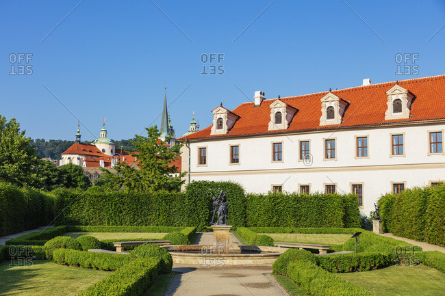 May 29, 2018: Wallenstein Palace park, Prague, UNESCO World Heritage Site, Bohemia, Czech Republic, Europe