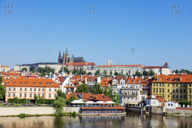 May 29, 2018: Prague Castle and St. Vitus Cathedral, Prague, UNESCO World Heritage Site, Bohemia, Czech Republic, Europe