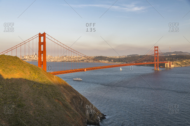 View of Golden Gate Bridge from Golden Gate Bridge Vista Point at sunset, South Bay, San Francisco, California, United States of America, North America