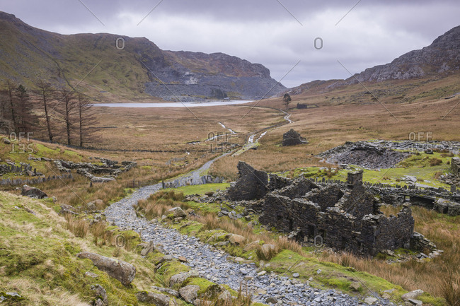 Cwmorthin Quarry and Cwmorthin Lake, Vale of Ffestiniog, Gwynedd, North Wales, Wales, United Kingdom, Europe
