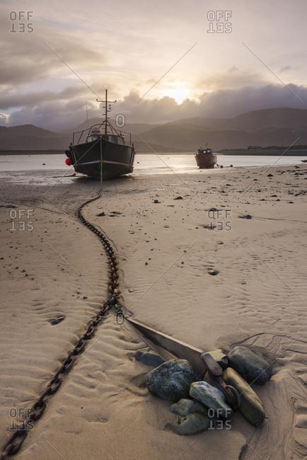 February 22, 2014: Old fishing boat, Barmouth Harbor, Gwynedd, North Wales, Wales, United Kingdom, Europe