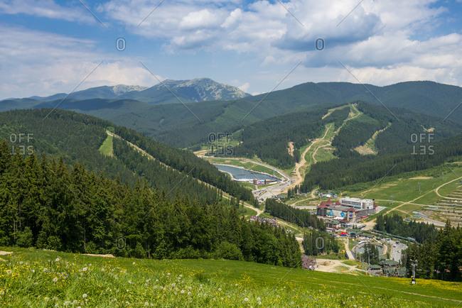 June 1, 2018: View over the Bukovel ski resort, Carpathian Mountains, Ukraine, Europe