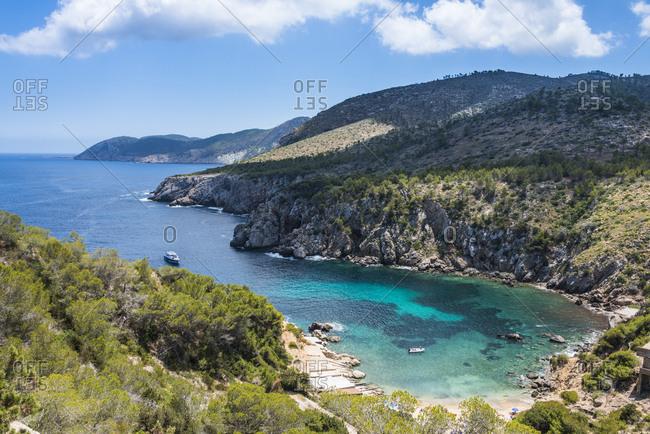 Coastline over Cala D'en Serra beach, Ibiza, Balearic Islands, Spain, Mediterranean, Europe
