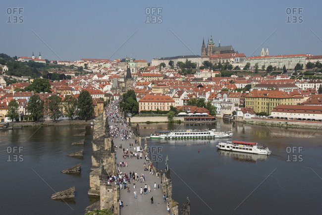 June 5, 2018: View of Charles Bridge from Old Town Bridge Tower looking toward Mala Strana and Prague Castle, UNESCO World Heritage Site, Prague, Czech Republic, Europe