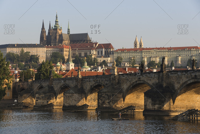 Prague Castle, Hradcany, Mala Strana, and Charles Bridge lit by sunrise, UNESCO World Heritage Site, Prague, Czech Republic, Europe