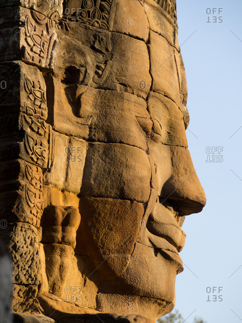 Huge stone face, Bayon Temple, Angkor Wat complex, UNESCO World Heritage Site, near Siem Reap, Cambodia, Indochina, Southeast Asia, Asia
