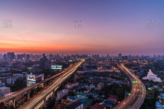 January 13, 2018: Sunset from city viewpoint, Bangkok, Thailand, Southeast Asia, Asia