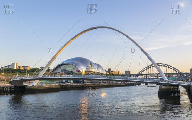 June 27, 2018: The Millennium Bridge, Tyne Bridge and Sage Gateshead Arts Centre, Newcastle-upon-Tyne, Tyne and Wear, England, United Kingdom, Europe