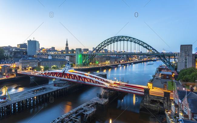 June 27, 2018: River Tyne, The Swing Bridge, Tyne Bridge and Millennium Bridge, Newcastle, Tyne and Wear, England, United Kingdom, Europe
