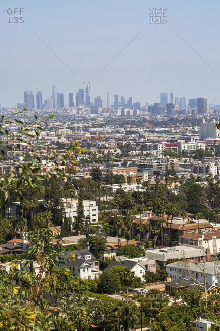 May 27, 2018: View of Downtown skyline from Hollywood Hills, Los Angeles, California, United States of America, North America