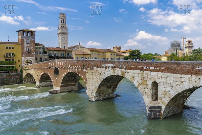 Ponte Pietra, the stone Roman arch bridge crossing River Adige, Verona, Veneto, Italy, Europe