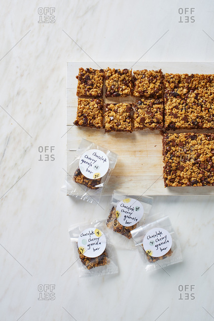 Homemade cereal granola bars in plastic packages