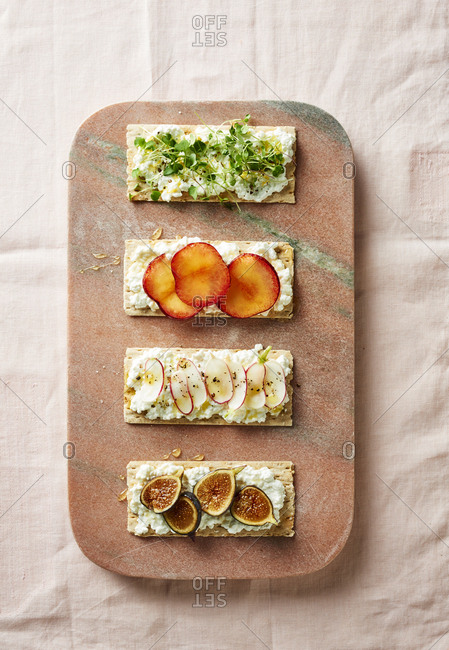 Assorted cottage cheese tartines from above