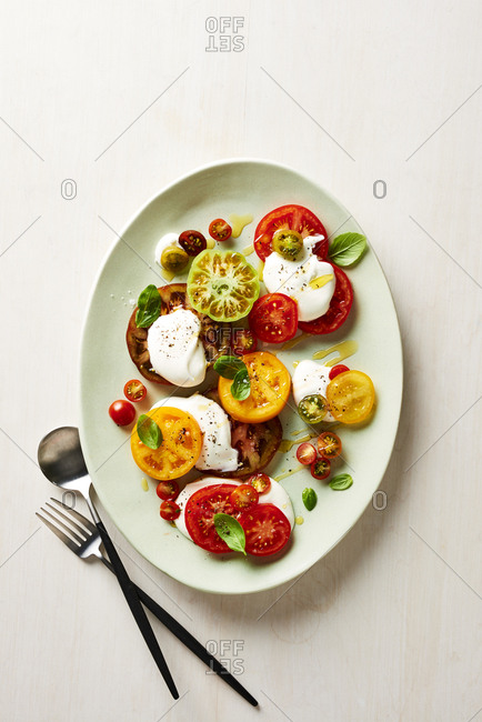Heirloom tomato salad with whipped cream