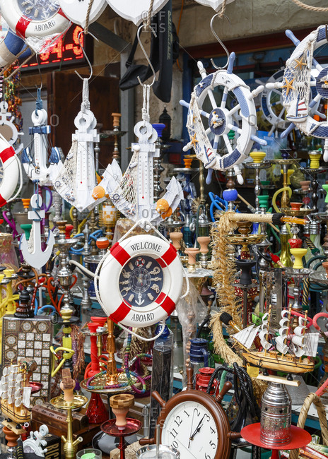 October 22, 2017: Detail of a store in the market in the old city of Acre (Akko), Israel.