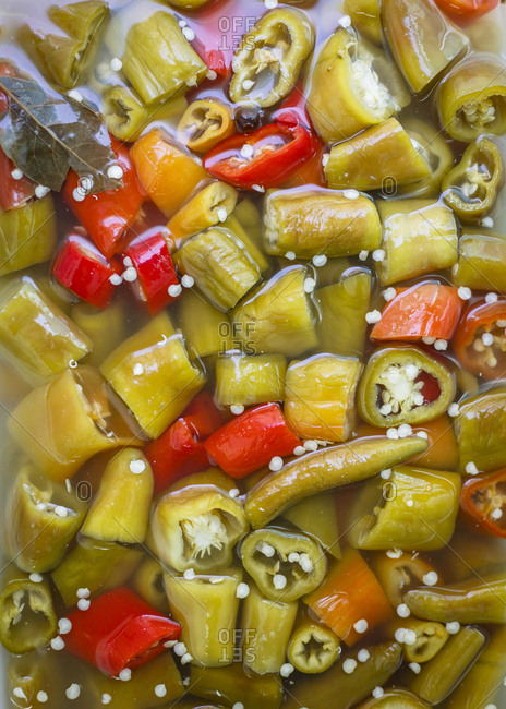 Pickled spicy peppers, Jerusalem, Israel.