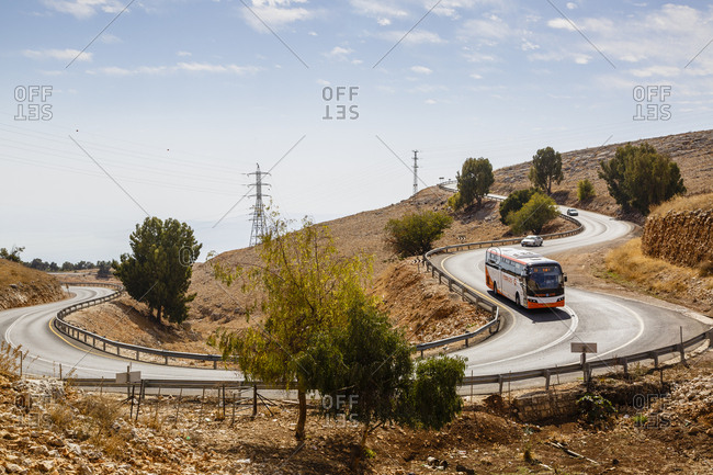 October 23, 2017: Bus on a winding road from Rosh Pina to Safed, Upper Galilee, Israel.